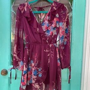 Band of Gypsies Sheer Plum Blue Floral Dress XS